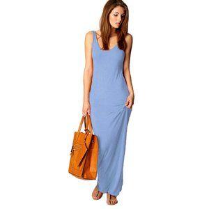Slim Strap Solid Color Long Dress  (BFL)